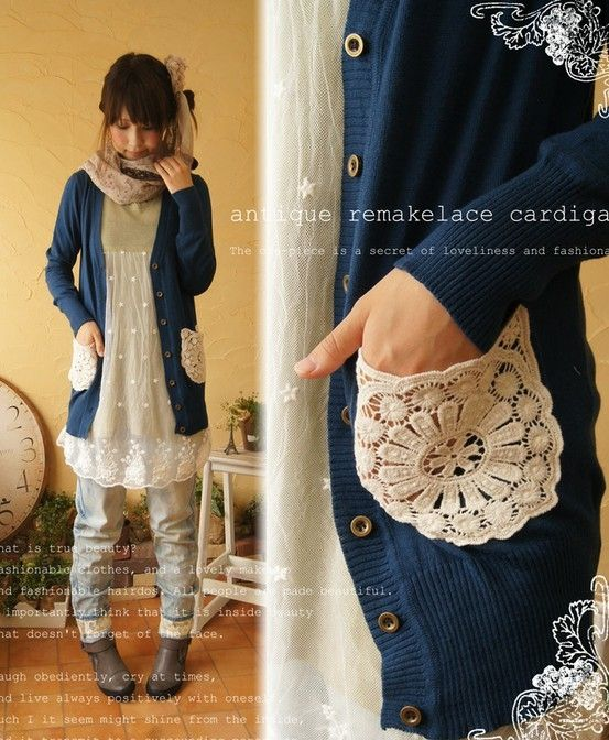 Add doilies to a pocketless cardigan by beulah- so pretty