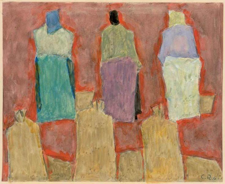 Carl Roesch (1884-1979, Swiss), 1961, Drei Frauen, drei Kartoffelsäcke (Three women, three potato bags), mixed technique on paper Carl and Margrit Roesch Foundation, Kunstmuseum des Kantons Thurgau, Switzerland
