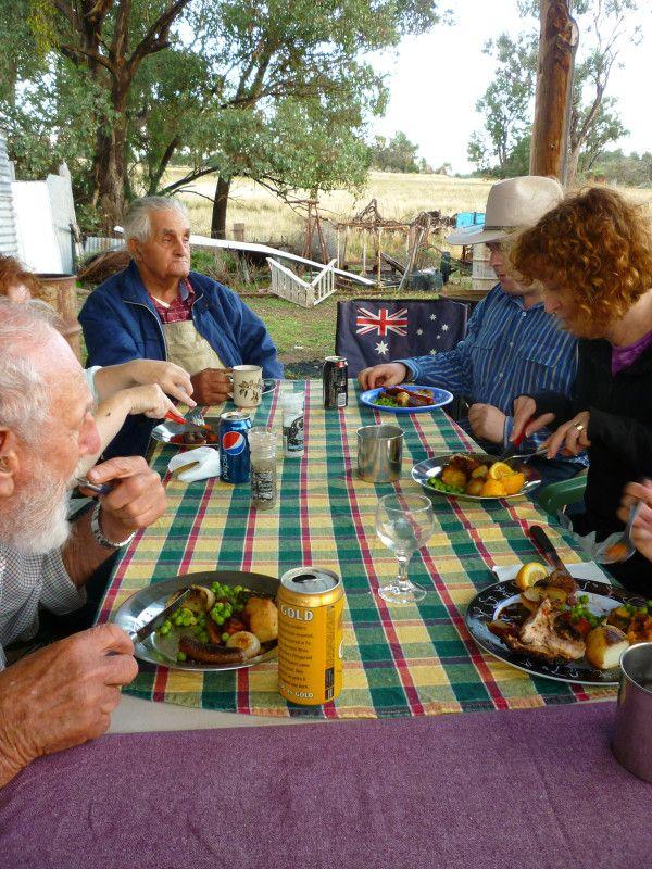 Enjoy a meal with some new Aussie mates #travel #Sydney #Australia Dinner on an Aussie farmstay