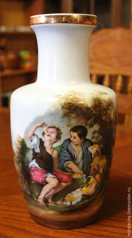 """Купить Декоративная, фарфоровая ваза, """"Дети с собачкой"""" Sanbo, Испания - разноцветный, мир старины, sanbo"""