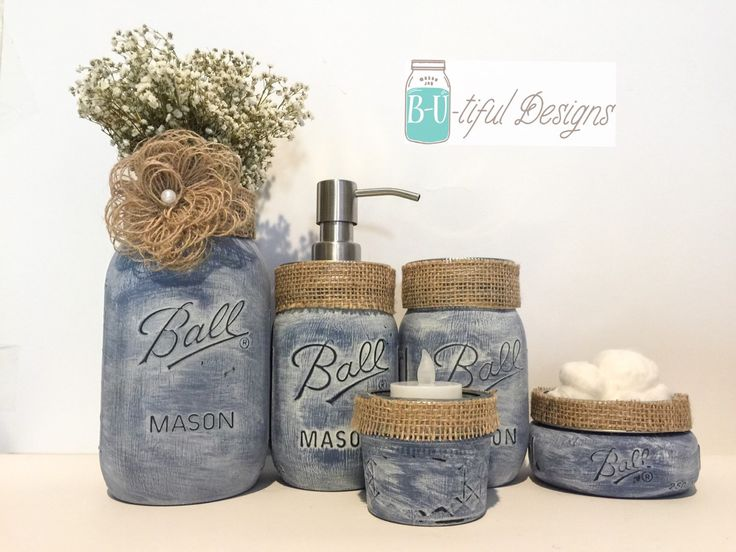 A personal favorite from my Etsy shop https://www.etsy.com/listing/225210827/vintage-denim-and-burlap-mason-jar
