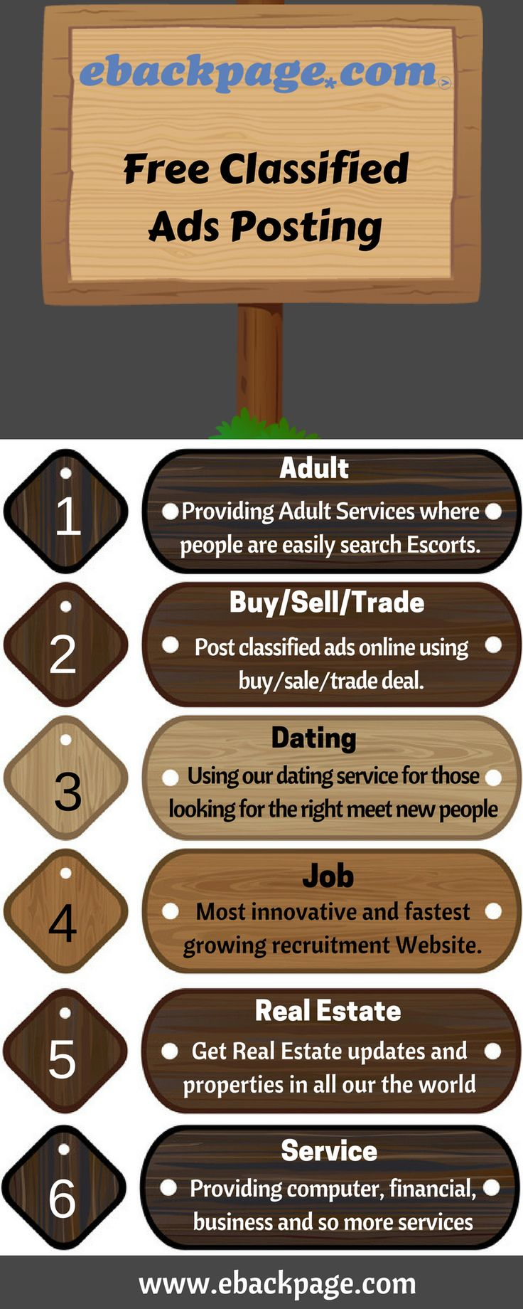 If you're looking for private ad sites like Backpage, you've arrive at the proper place. We have gathered a listing of the most truly effective rated free classified ads sites.  eBackpage is one of the best classified ads sites online with an incredible number of daily users from all over the world.