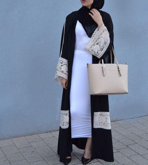 Black with Cream Lace Abaya