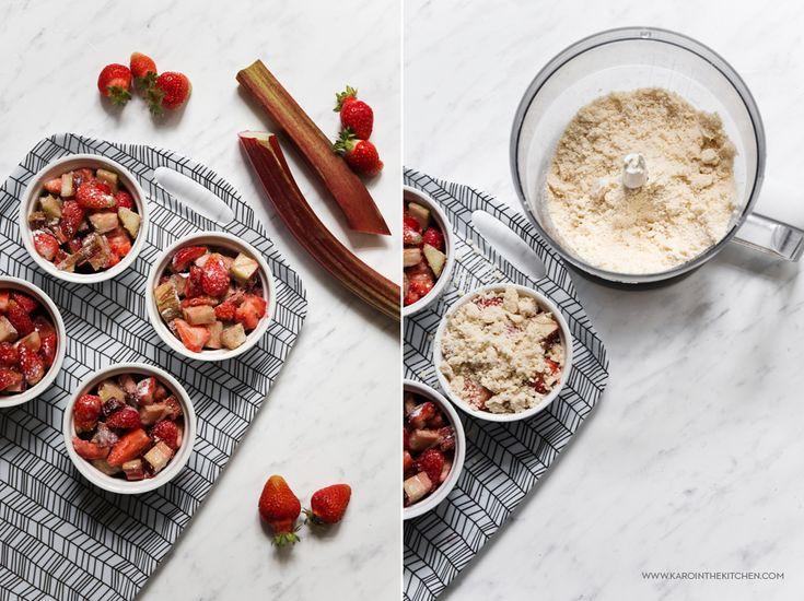 Crumble – rabarbar i truskawki zapiekane pod kruszonką   Karo in the Kitchen