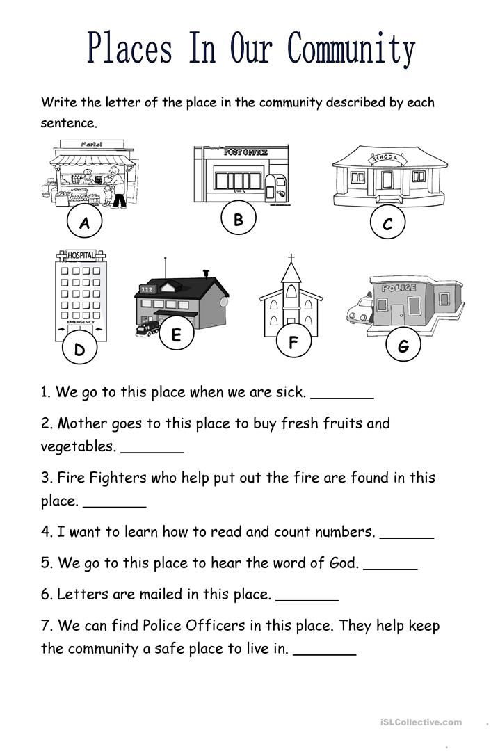 Places In The Community English Esl Worksheets For Distance Learning And Physical C In 2020 Places In The Community Social Studies Worksheets Kindergarten Worksheets