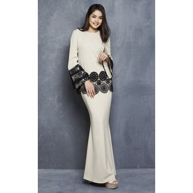 Lola Modern Kurung with Sequin Bell Sleeves in Nude