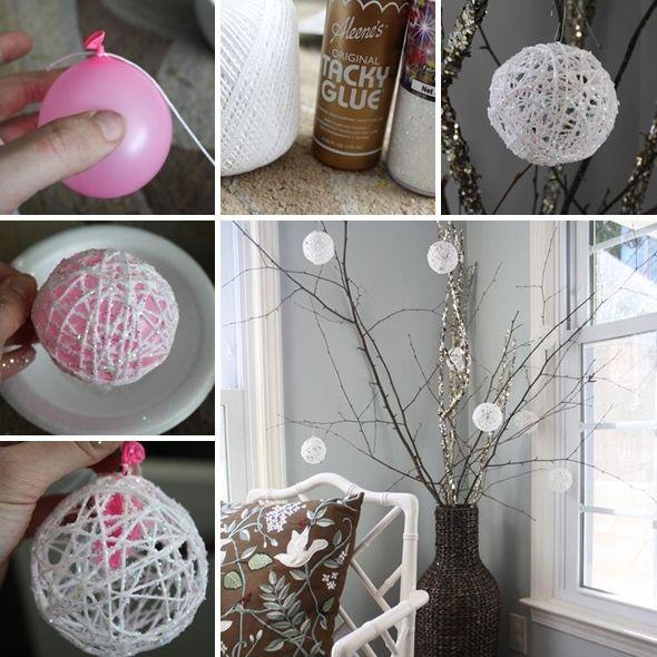 Craft These Lovely Glittery Yarn Snowball Ornaments - http://www.amazinginteriordesign.com/craft-lovely-glittery-yarn-snowball-ornaments/