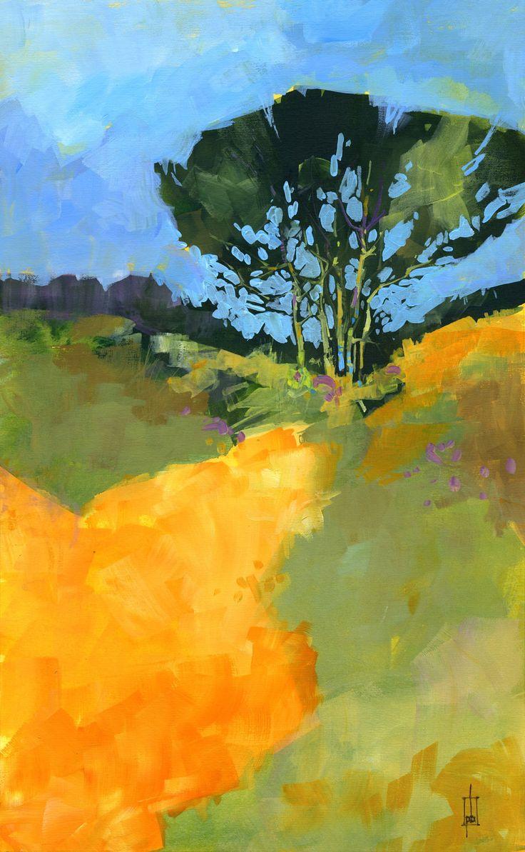 Original semiabstract landscape painting October by PaulBaileyArt
