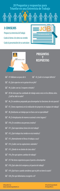 Preguntas y respuestas en un entrevista de trabajo #infografia de @marketingandweb