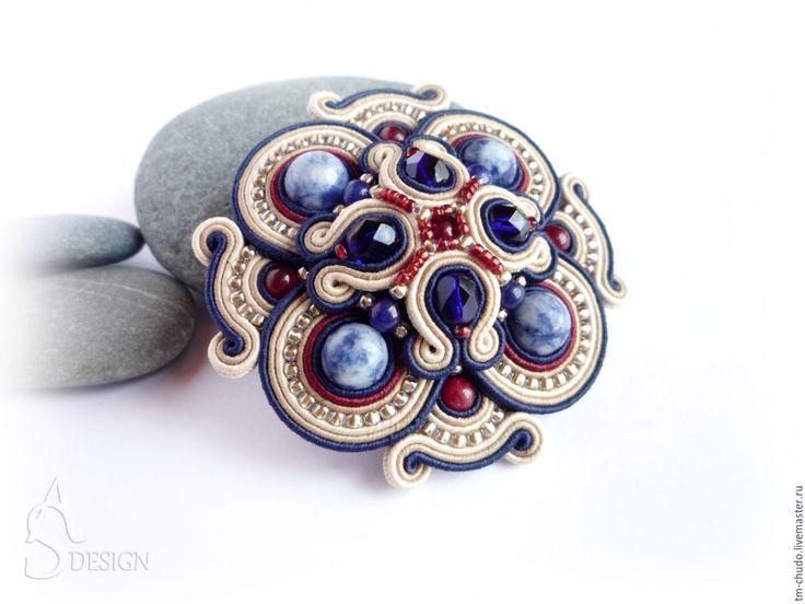 Купить Сутажная брошь-орден Mosaic с натуральным камнем. Синий, бордовый. - тёмно-синий, синий