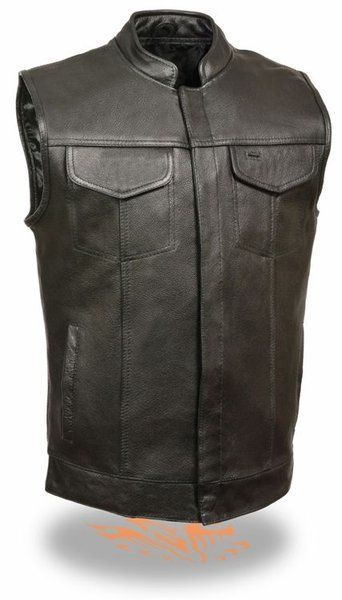 Mens Buffalo Leather Motorcycle MC Vest Gun pocket snap front Only