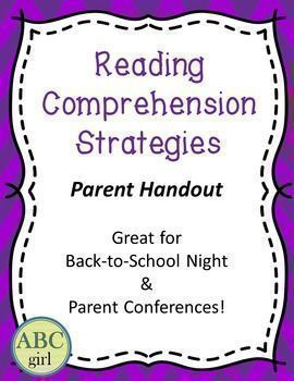 FREE! This is a one-page handout on reading comprehension strategies. Perfect for Back-to-School night or Parent Conferences!This is a great handout for back-to-school night or parent conferences!Visit my store for more parent resources!Reading and Writing Parent Handout Word-Attack Strategies Parent HandoutMath Games - Parent HandoutFundations Kindergarten SMART Board Letter Cards Fundations Level 1 SMART Board Letter Cards Fundations Level 2 SMART Board Letter Cards Fundations Level 3…
