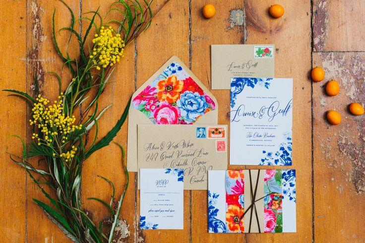 Colourful Wedding Invitations; Wedding Stationary; Cocktails & Chill Wedding Inspiration; Gina Humilde Events; Toronto Niagara Wedding Planner