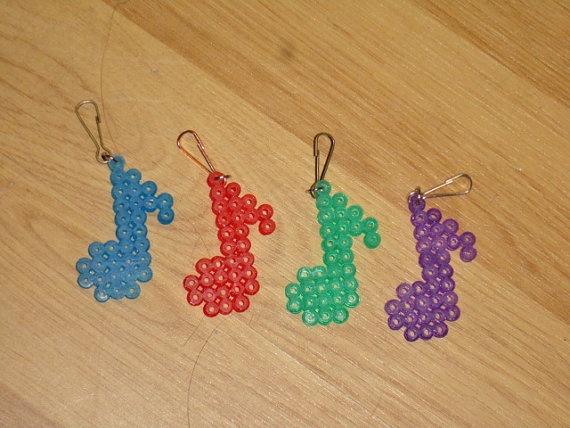 Set Of Four Music Note Perler Bead Keychains by cutiecrafts4u, $4.50