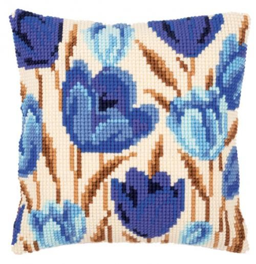 Blue Tulips Cushion Front Chunky Cross Stitch Kit