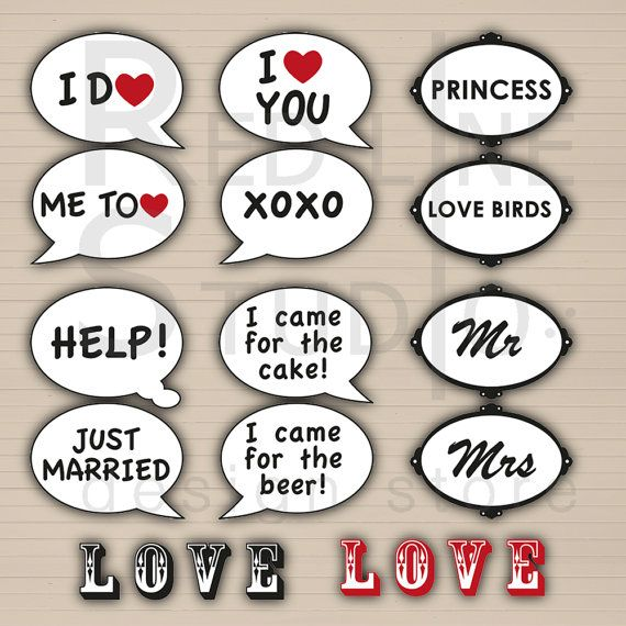 DIY Photo Booth Props Signs set Printable by redlinecs on Etsy, €8.00