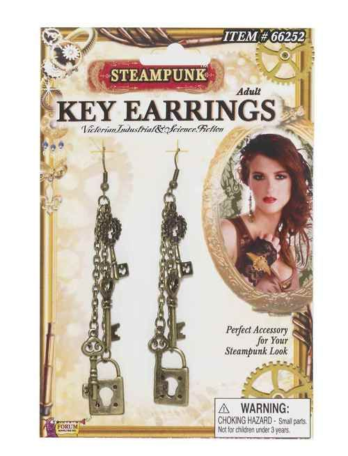 Steampunk Key Earrings - These light-weight Victorian inspired key earrings are perfect for your Steampunk outfit.  These pewter coloured pierced earrings feature a variety of old keys and padlocks. Great detail in earrings and fun to wear.  These danglers are perfect for all your Steampunk outfits as well as everyday wear. Will make a great conversation piece! #steampunk #yyc #costume #jewelry