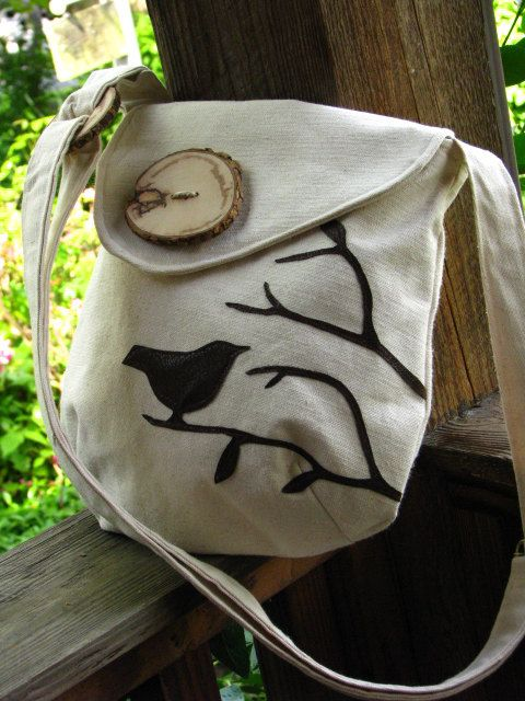 Small Pleasures Purse /Bird Tote /Off White Water Repellent Canvas /Eco…