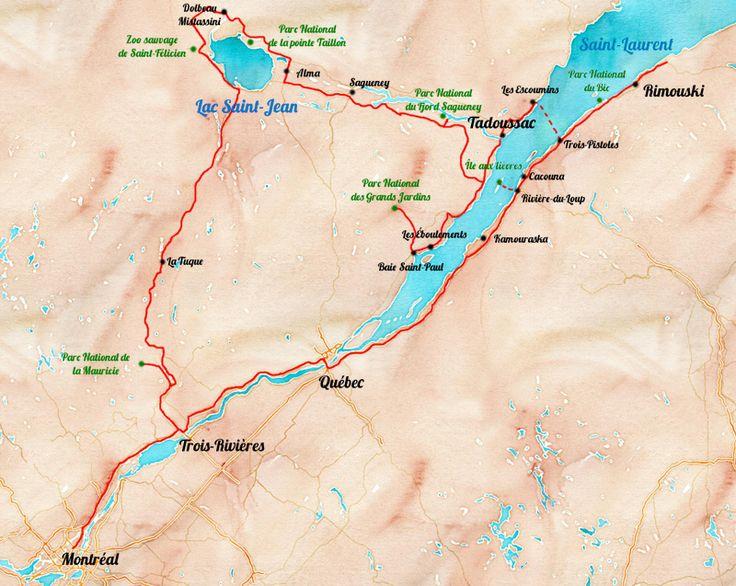 Carte: itinéraire de roadtrip au Quebec . 12 jours pour découvrir la Belle-Province en passant par Kamouraska, Tadoussac, la Saguenay et le Lac Saint Jean!