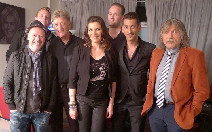 Susanne Alt, singer Johnny Kendall,Danny Vera Band and football journalist Johan Derksen, tv-show Voetbal International, 2014