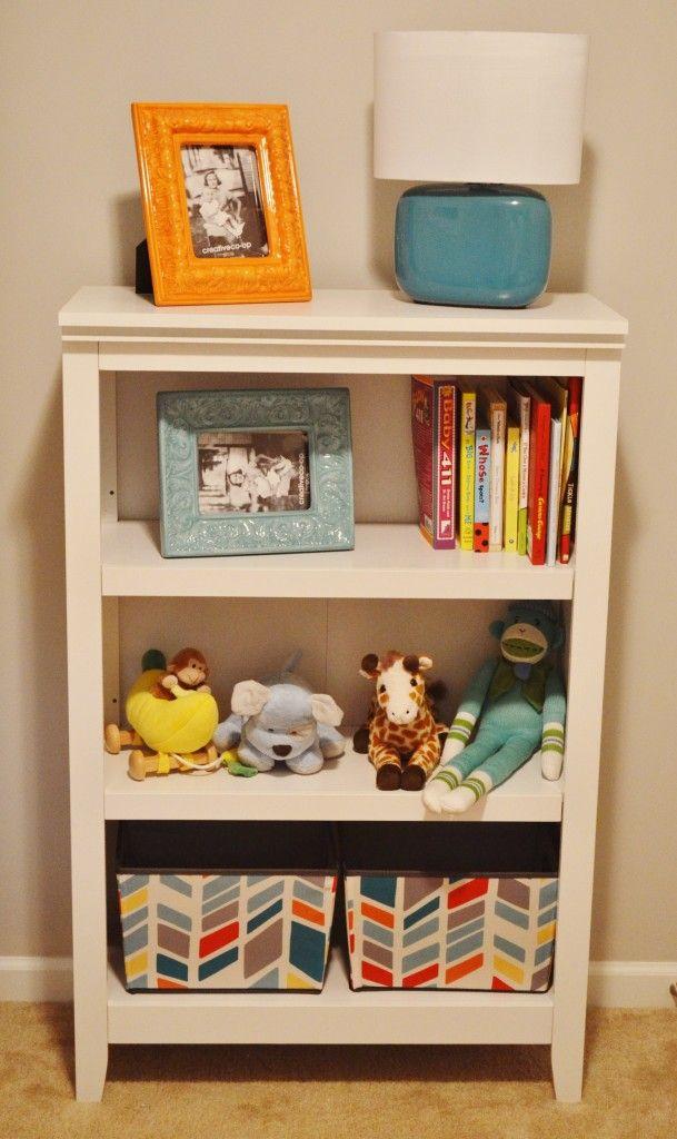 Bookshelf and baskets - combining blue and orange accessories onto white  furniture, fabric baskets. - Best 25+ Nursery Bookshelf Ideas On Pinterest Baby Bookshelf