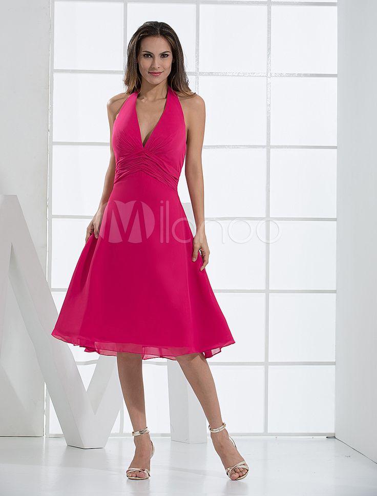 Fuchsia Deep V-neck Chiffon Prom Dress - Milanoo.com