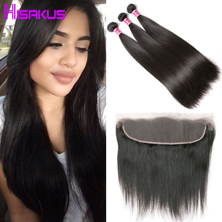 Straight Hair with Frontal Closure Raw Indian Hair 3 Bundles with Frontal Closure Indian Virgin Hair Cheap Human Hair Extension