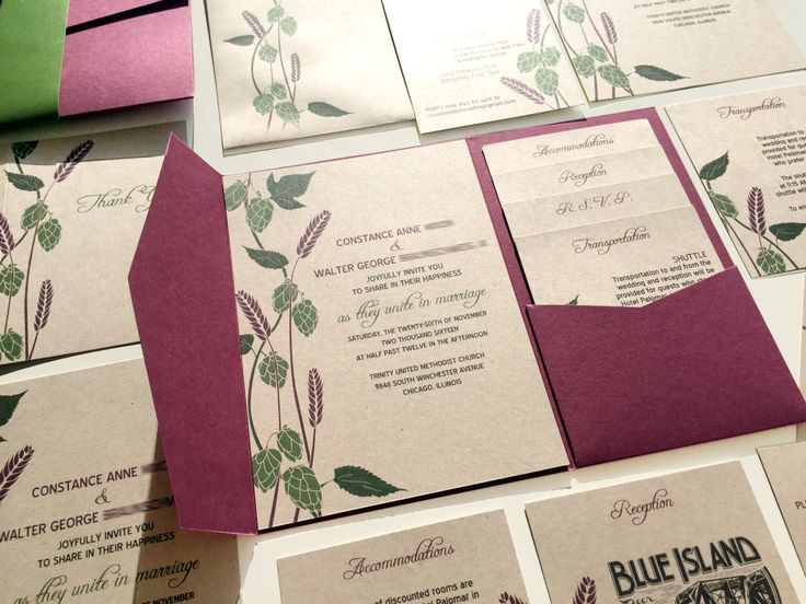Hops and Barley Wedding Invitation, Rustic Brewery Wedding Invite, Beer Wedding Invitations, Burgandy Red, Green Kraft Paper Plum Pocketfold by vohandmade on Etsy