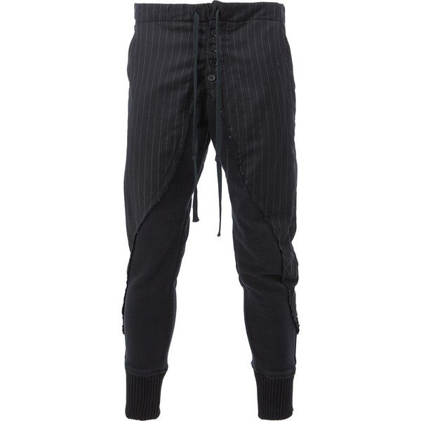 Greg Lauren striped skinny trousers ($1,789) ❤ liked on Polyvore featuring men's fashion, men's clothing, men's pants, men's casual pants, black, mens striped pants, mens skinny pants and mens tuxedo stripe pants