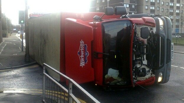 A lorry lies on it's side at Norfolk Court, Glasgow, as Hurricane Bawbag takes hold. (2011)