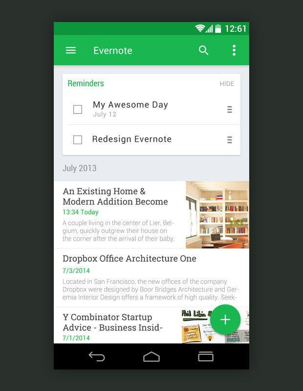 10 Awesome Examples of Material Design Evernote App android productivity