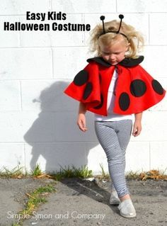 Lady Bug Cape Costume by @simplesimonco | Easy Kids Halloween Costume | DIY Lady…