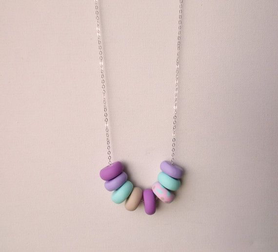 Handcrafted polymer clay necklace in Fairy Floss, by craft & folk  https://www.etsy.com/ie/transaction/1000486925?