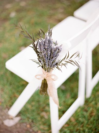 Lavender aisle marker for wedding ceremony. Appeal to the sense of smell as well!