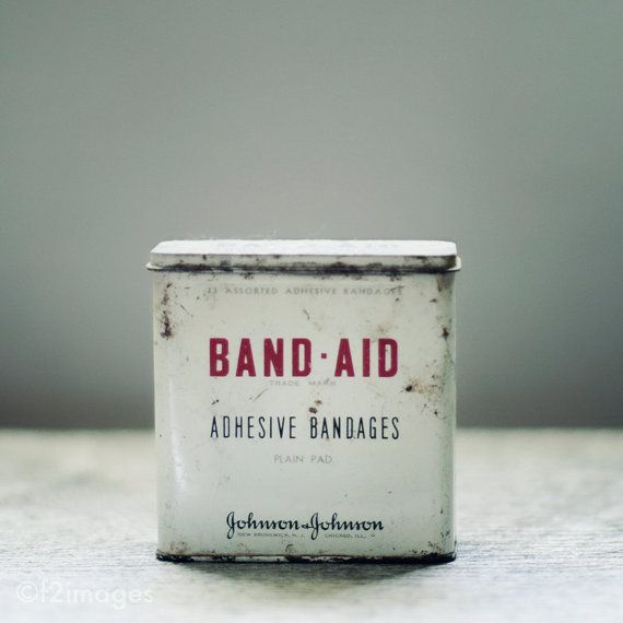 Vintage Bandaid metal container, one just like the one I inherited from my grandma Thompson's button box! I am going to go check and see if it is the exact one! This box got me started on collecting band-aid and first aid boxes! lOVE It!