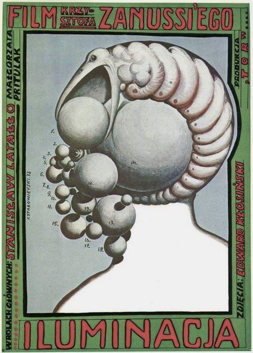 Poster for ILLUMINATION / Illuminacja (Krzysztof Zanussi, Poland, 1973). Designer by Franciszek Starowiejski