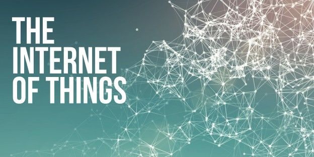 Text reading 'The Internet of Things' with a cyberspace image