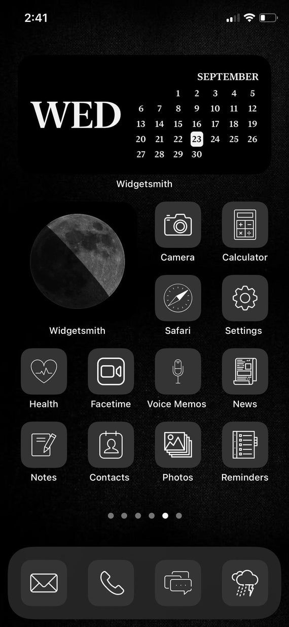 our black grey mode aesthetic app icons that