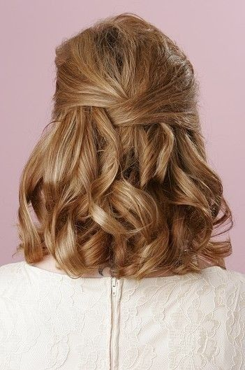 Prom Hairstyle for Short Hair | Curls for Prom | Half-up Half-down Hairstyle