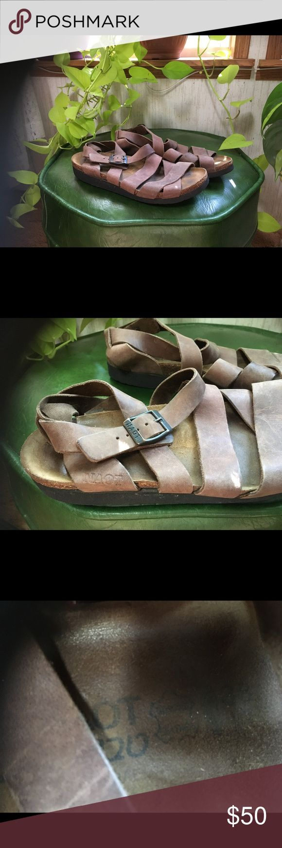 NAOT brown sandals So comfy, fit very similar to Birkenstocks! Cork footbed with a solid arch. I have wide feet with a rogue pinky toe and they're too slim for me. Worn a few times, no damage! Perfect 7.5 Naot Shoes Sandals