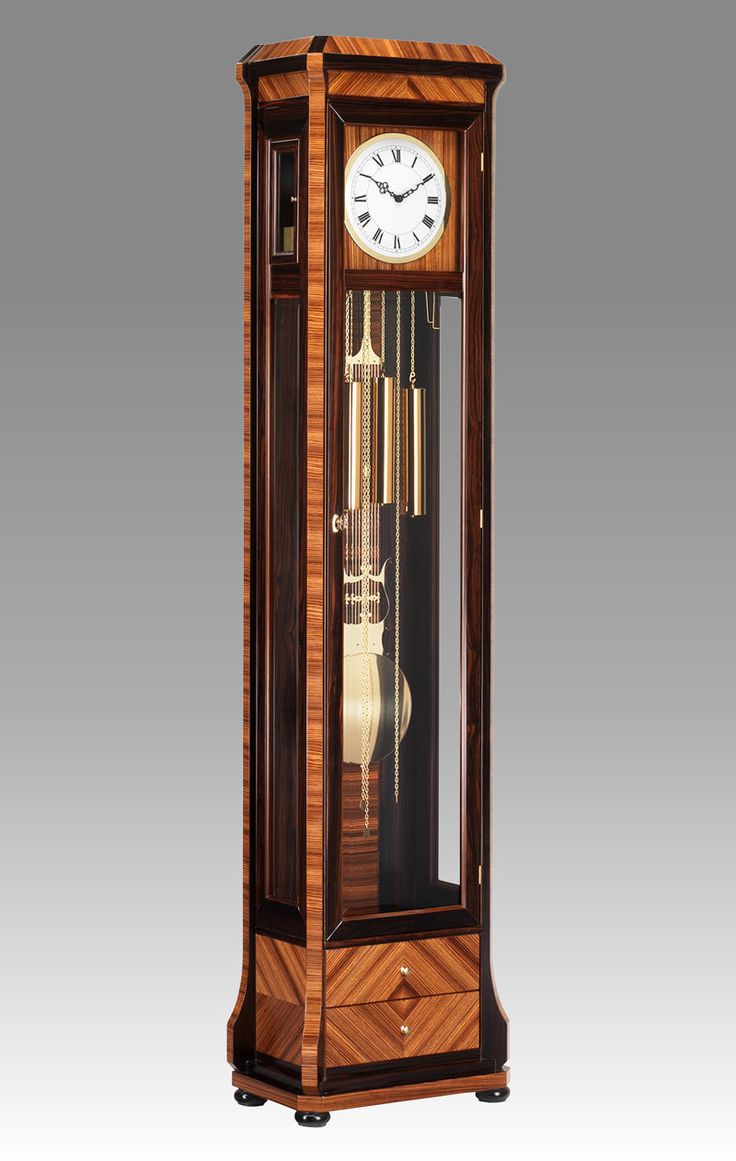 Grandfather clock Art.565/2 Ebony and zebrano with 2 drawers