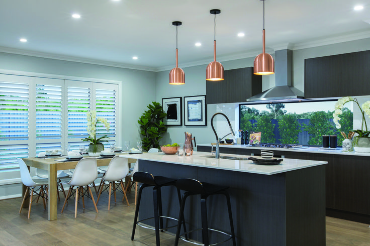 The Bristol Display by Eden Brae Homes NSW http://www.edenbraehomes.com.au/home-designs/bristol/ #EdenbraeHomes #weeklyhometrends #design #styling #newhome #pendantlight #copper #kitchen #dorf #clark #inspiration #blacktapware #dining #timberfloorboards