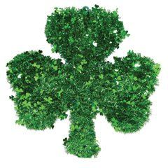 """St. Patrick's Day Shamrock Tinsel Wreath. The wreath is 16"""" and made of green tinsel, some shaped as a shamrock. The frame is very sturdy green wire."""