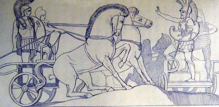 Polydamus attempting to stop Hector attacking the Greeks, from John Flaxman's Iliad