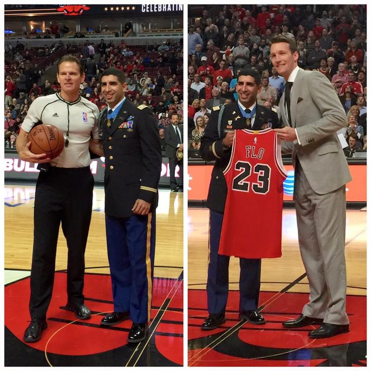 """We are honored to have recent #MedalOfHonor recipient Captain Florent Groberg at tonight's #Bulls game! Mike Dunleavy presented """"Flo"""" with a custom Bulls jersey. 12/7/2015"""