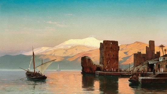 Carl Neumann (1833-1891): Evening light in a harbour, presumably from Northern Africa, 1875