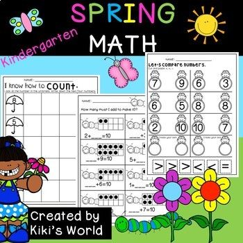Spring Math worksheets for Kindergarten*****************************************************************************This product has a cover page, contents page, 25 Math worksheets and one cut out page. It has the following worksheets:Counting on (0-10)Counting on (11-20)Counting back (0-10)Counting back (11-20)Count in 10s (cut and paste)Count objectsCount on ten frames           -dots           - beesCompare numbers (0-10)              -2 worksheetsColor the greater number.Word problems…