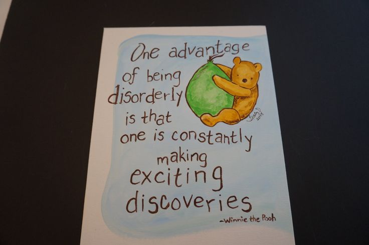 Classic Winnie the Pooh flying up on a balloon, quote disorderly and exciting discoveries by MoonbeamsBearDreams on Etsy