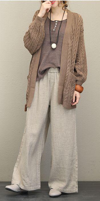 Casual Button Down Knitwear Women Loose Coat For Fall Q1538