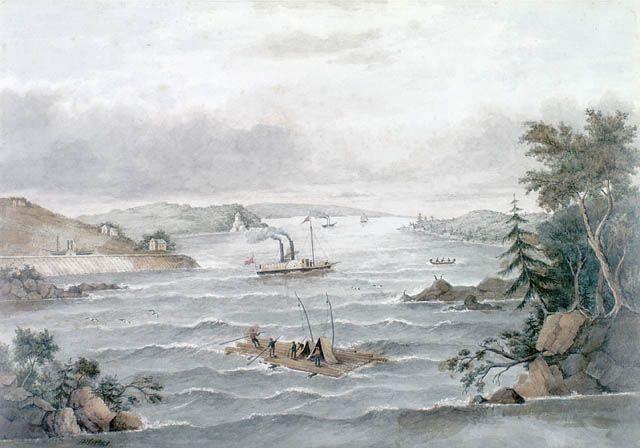 Rapides Long Sault, sur le fleuve Saint-Laurent, 1849. Crédit: Bibliothèque et Archives Canada, Acc. No. 1970-188-2121.